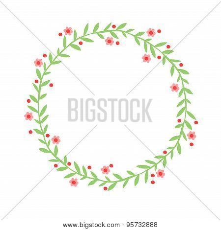Hand drawn abstract wreath (frame in the shape of a circle) with leaves, flowers and berries.