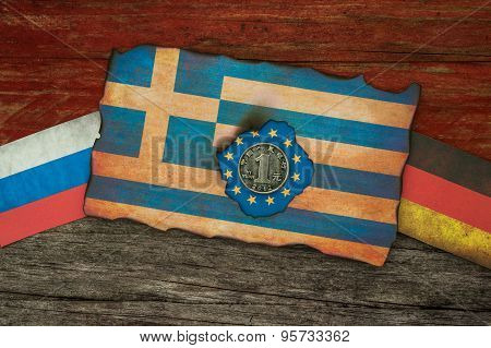 Greek financial crisis Flags concept background