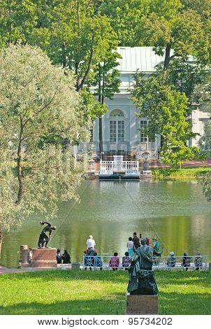 Tsarskoye Selo (Pushkin). Saint-Petersburg, Russia. The Pier on the Great Pond