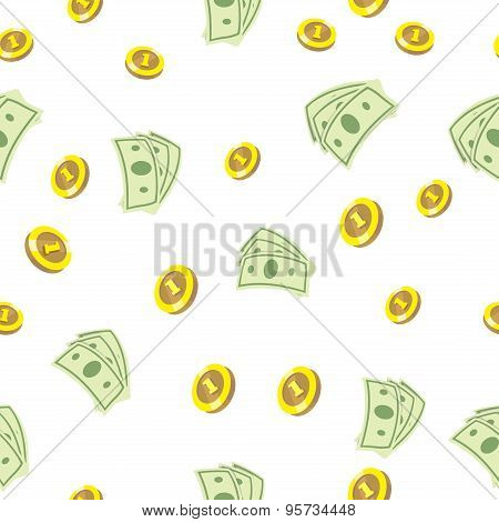 Seamless texture with golden coins money