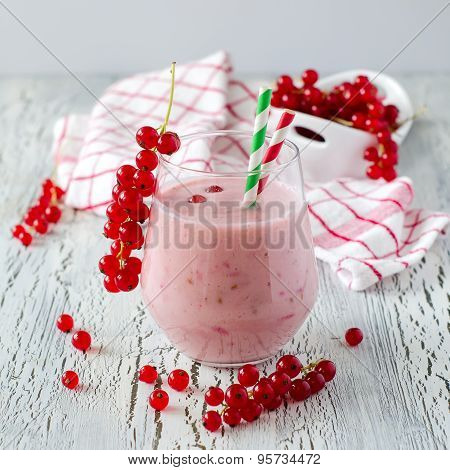 Healthy Smoothie Drink With Red Currant Berries For Breakfast