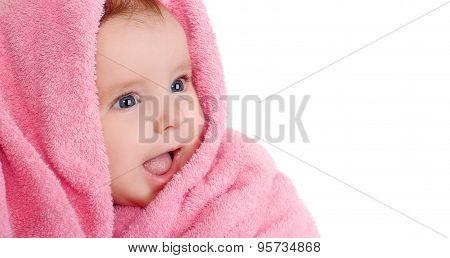 Smiling Baby Pink Towel