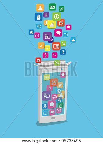 Application icons falling in smart phone. Vector illustration.