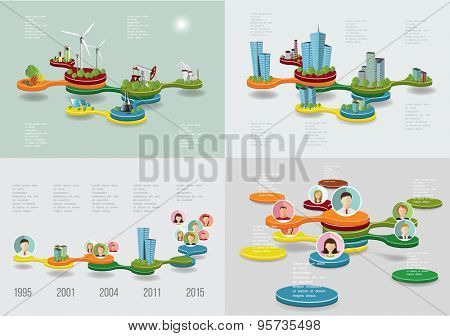 Business Time line infographic set. Vector illustration
