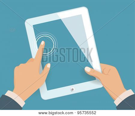 Hands holding blank tablet. Vector illustration