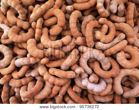 Closed Up The Group Of Tamarind, Spicy Fruit