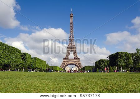 Eiffel Tower With Blue Sky In The Morning, Paris