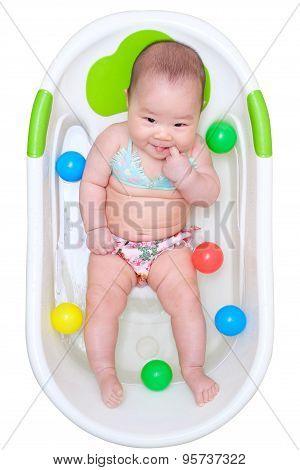 Asian Baby Girl Taking A Bath
