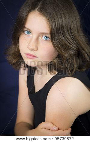 Portrait Of Sad Beautiful Young Girl