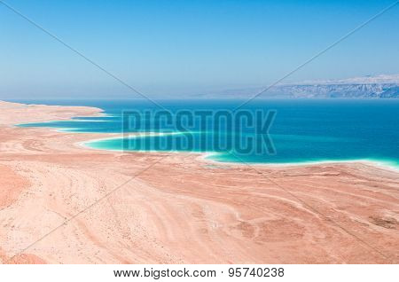 Dead Sea Coastline In Desert Uninhabited Extraterrestrial Landscape