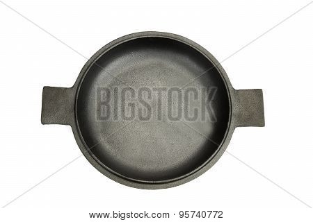 High Angle View On The Opened Cast Iron Pan Isolated