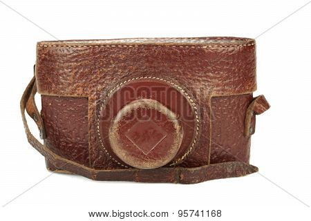 Close-up Of Old Shabby Photo Camera Leather Case Isolated
