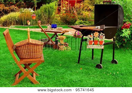 Summer Backyard  Bbq Grill Party Or Picnic Scene