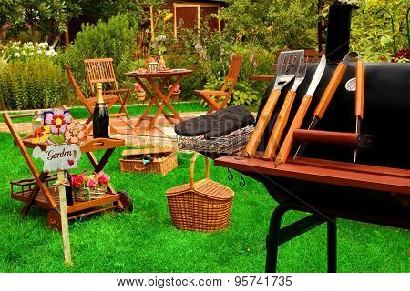 Summer Outdoor Backyard  Bbq Grill Party Or Picnic Scene