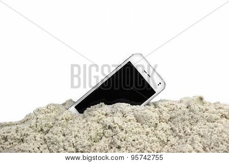 Smartphone With Touch Screen In The White Beach Sand Isolated