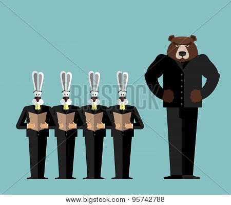 Meeting Office. Bear big boss scolds rabbits. Hares are afraid. Vector illustration of business rela