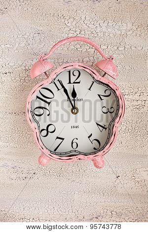 Retro Pink Clock On Wooden Background, Top View