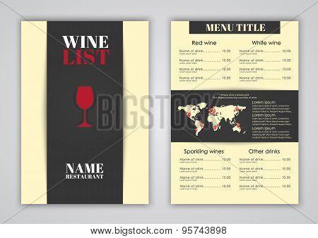 Menu Design For Wine Cafes, Restaurants