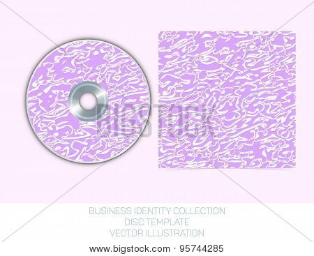 Business identity collection: mauve, orchid, violet chaos. CD or DVD cover template. Vector Illustra