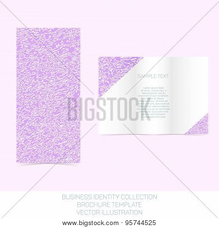 Business identity collection: mauve, orchid, violet chaos. Tri-fold brochure or flyer template. Vect
