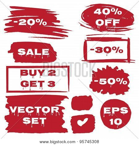 Discount offer stickers with bright watercolor splatters. Sale, Buy 2 Get 3, -30, -40, -50. Grunge s