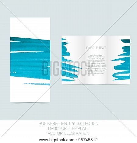 Business identity collection: turquoise tiffany teal watercolor. Tri-fold brochure or flyer template