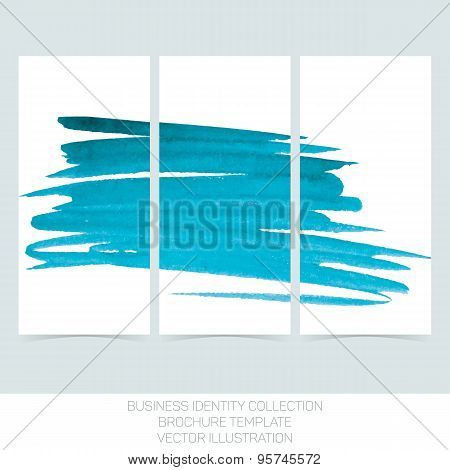 Set of three banners posters, abstract headers with  turquoise tiffany teal watercolor blot. Vector