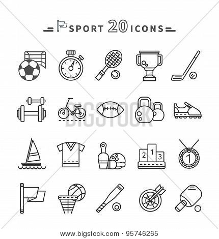 Set of Black Icons Sport Equipment on White