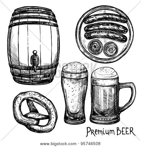 Beer Sketch Decorative Icon Set