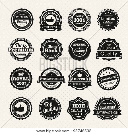 Vintage Premium Quality Black And White Badges
