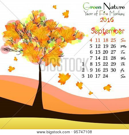 Abstract Nature Background With Autumn Tree. September
