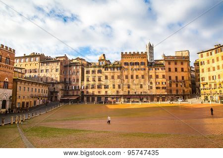 Central Square Piazza Del Combo  Siena  Tuscany  Italy