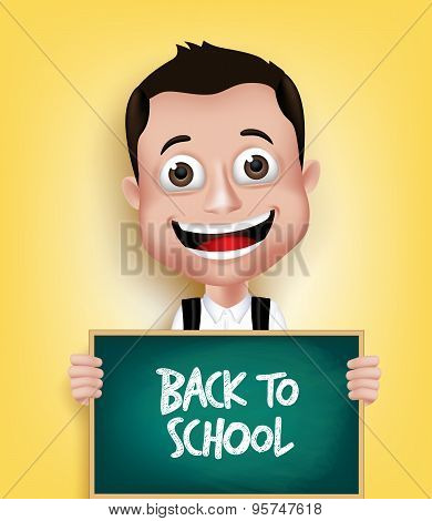 3D Realistic School Boy Student Happy Smiling Holding