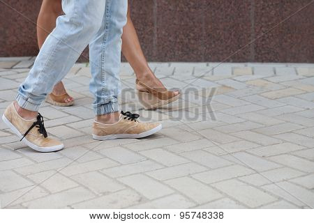 Legs of young couple