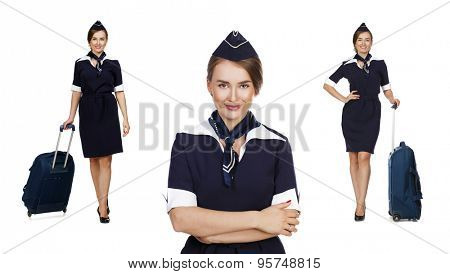 Collage, Portrait in full growth stewardess holding suitcase isolated on white background