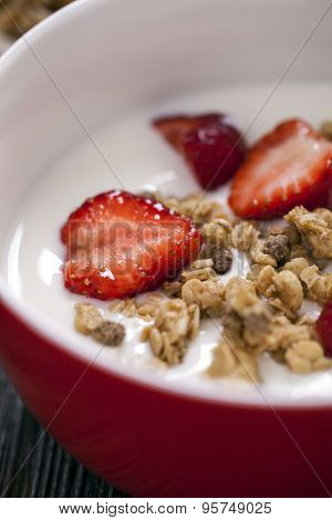 Excellent Breakfast. Breakfast Cereal With Yoghurt And Strawberries