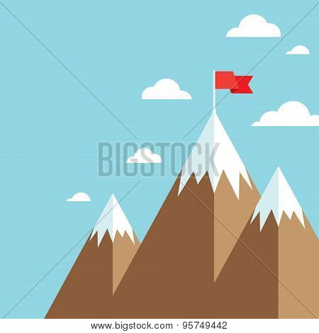 flag on mountain success goal achievement business concept winning of