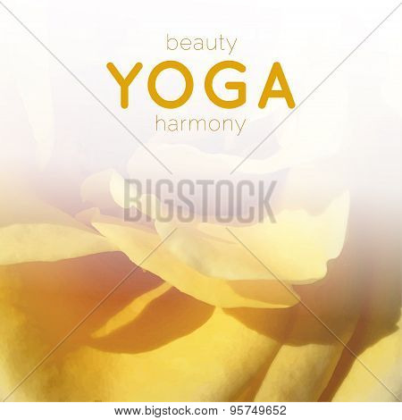 Poster for yoga class with yellow rose