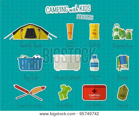 Camping with kids stickers and labels. Set of flat adventure traveling elements and symbols with tex
