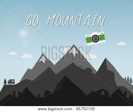 Go mountain concept design. Outdoor travel illustration with silhouette, tree, bike, tent. Colorful