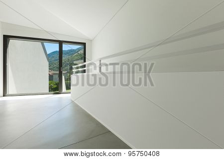 architecture, interior modern house, wide passage with window