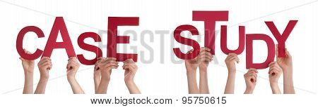 People Hands Holding Red Word Case Study