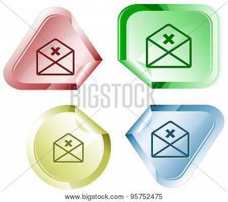 mail cancel. Vector sticker.