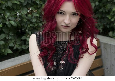 Gorgeous Redhead Girl In Garden