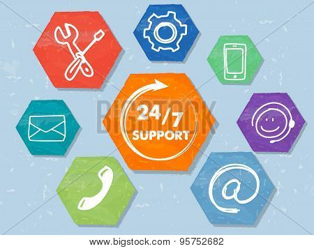24/7 Support With Network Signs, Grunge Drawn Hexagons Labels