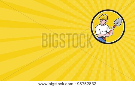 Business Card Builder Construction Worker Holding Spade Cartoon
