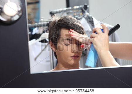Make Up Model At Mirror In Dressing Room, Sprays Hairspray