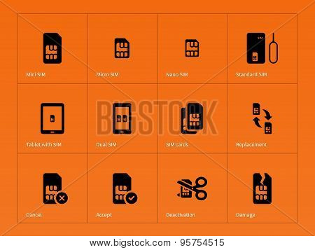 Network SIM cards icons on orange background.