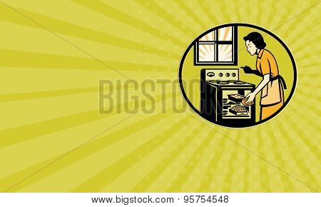 Business Card Housewife Baking Bread Pastry Dish Oven Retro