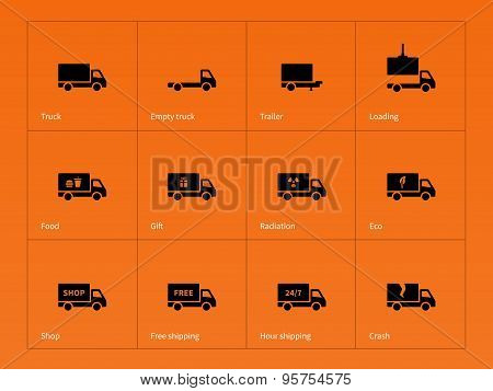 Truck and delivery icons on orange background.